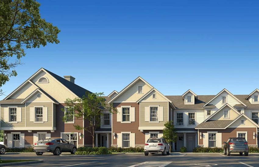 casas geminadas, no estilo colonial americano. Comprar casa no Summerville em Orlando.